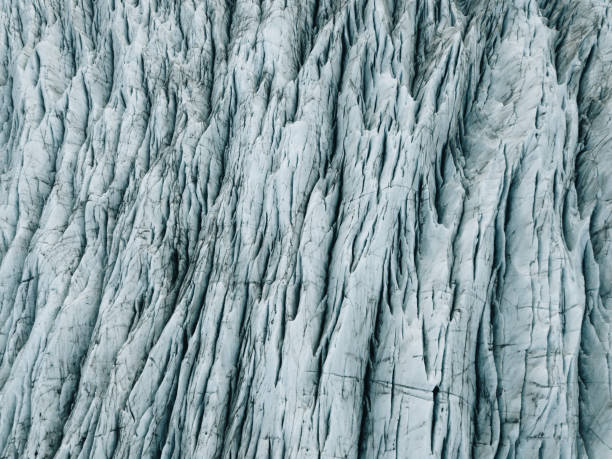 Drone view at Glacier Svinafellsjokull rocky texture stock photo