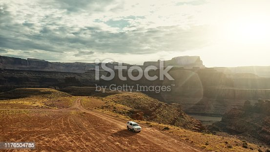 Drone view: car at the Shafer trail Canyonlands