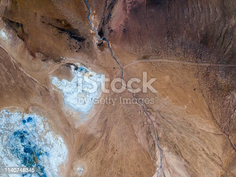 Drone view in the north of Iceland near Lake Myvatn. Aerial panoramic view in myvatn geothermal area. Beautiful landscape in Iceland in an area of active volcanism.
