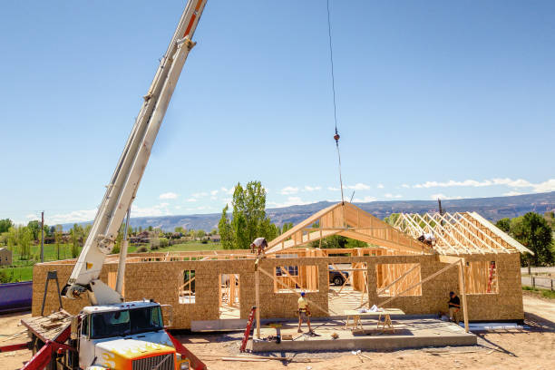 Drone View of a Home being Framed by Carpenters stock photo