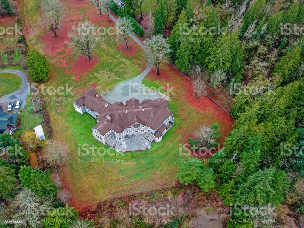 Drone view of a luxurious stone wedding venue stock photo
