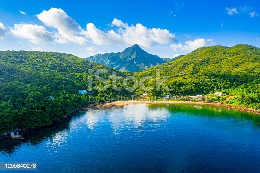 Drone view of A seascape of Tap Mun or Grass Island where is located in Sai Kung