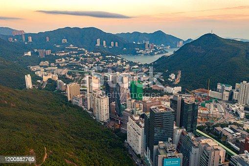 Drone view of Aberdeen, Hong Kong