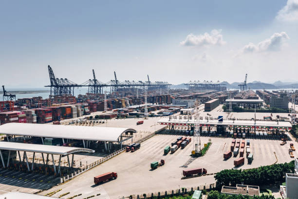 Drone view of  Container ships, port in Shenzhen, China Yantian port Shenzhen China Drone view, Container ships, China import export, business logistic sanctions stock pictures, royalty-free photos & images