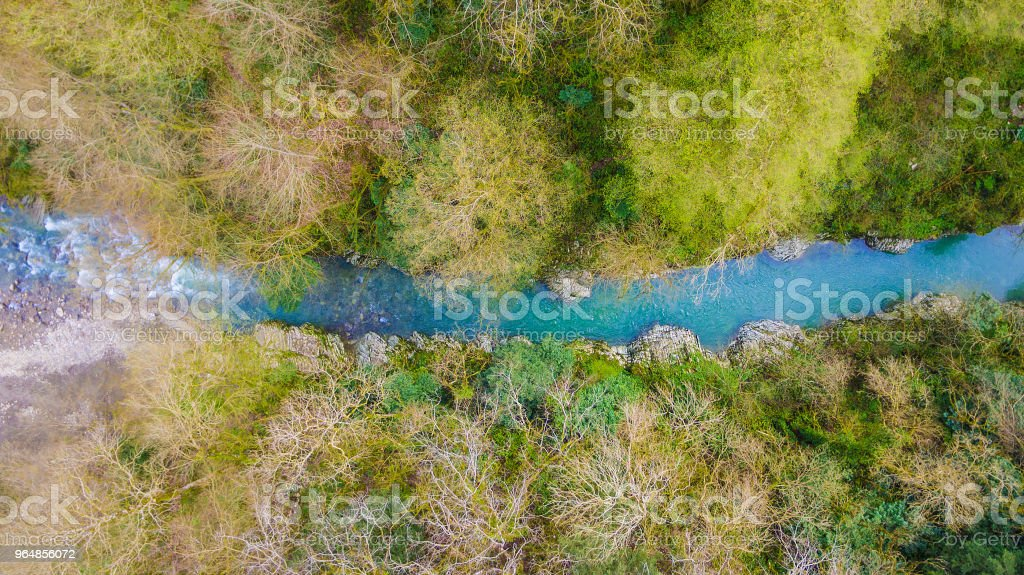 Drone view of Devil's Gate Canyon, Sochi, Russia royalty-free stock photo