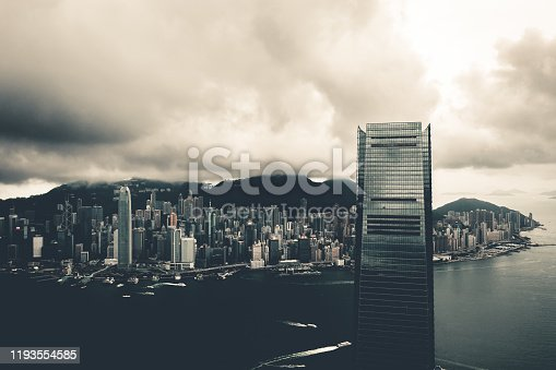 Drone view of Hong Kong City, China, Asia