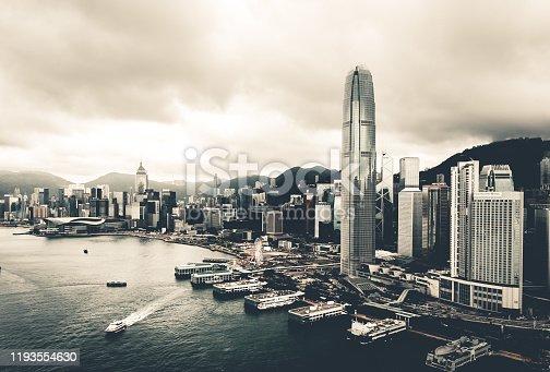 Drone view of Hong Kong City, China, Asia