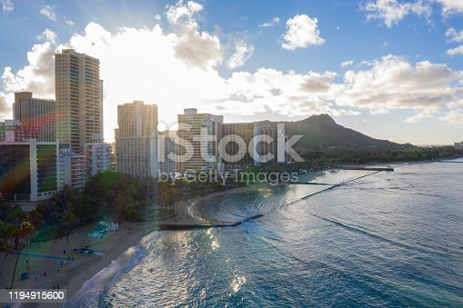 Drone view of Honolulu city, Waikiki beach, Hawaii