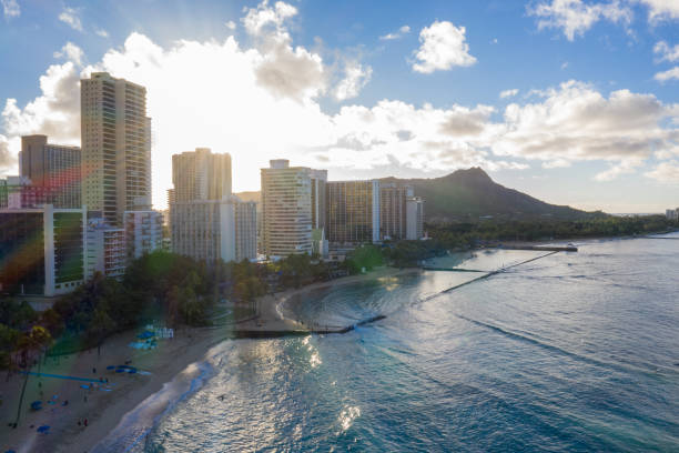 Drone view of Honolulu city, Waikiki beach, Hawaii stock photo