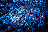 Drone view of huge industrial port with cargo containers. Commercial logistics industry of china Hong Kong