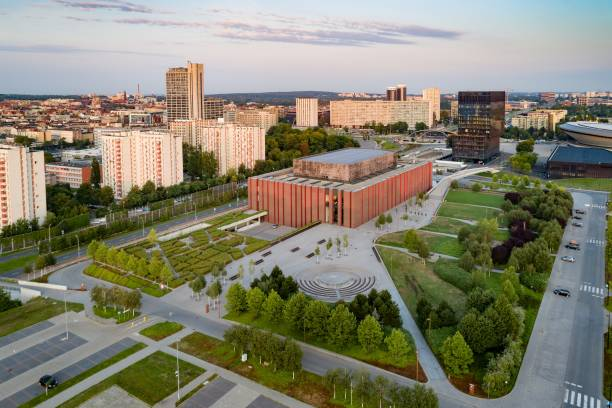 Drone view of Katowice at sunrise. Katowice is the largest city and capital of Silesia voivodeship. stock photo