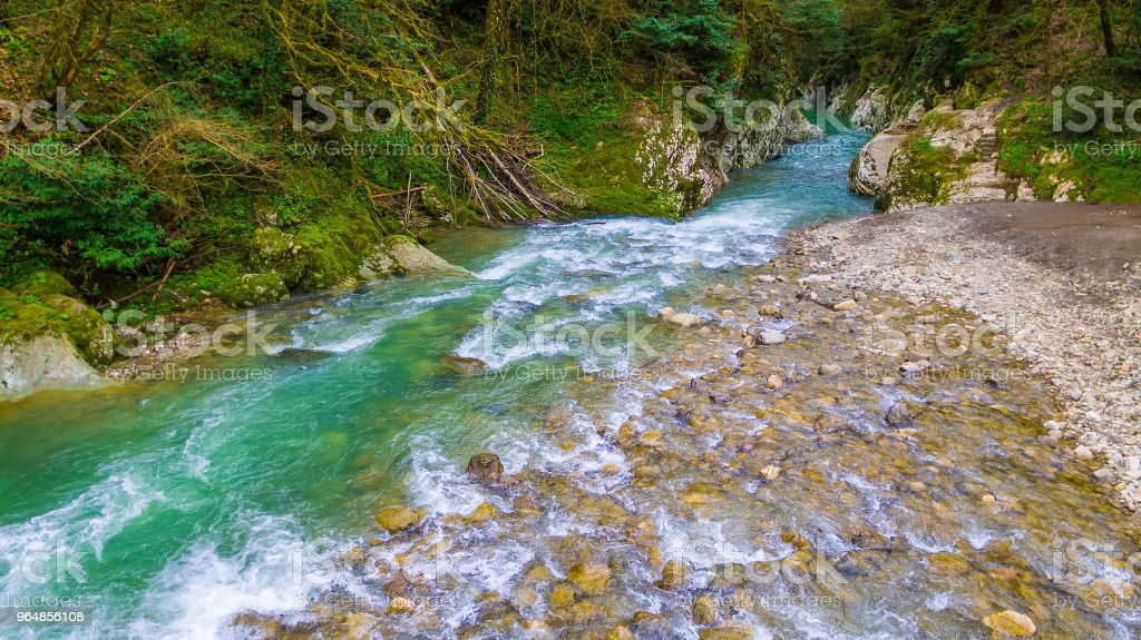 Drone view of Khosta River, Sochi, Russia royalty-free stock photo