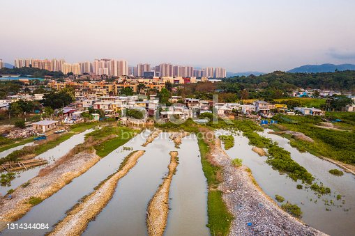 Drone view of Lau Fau Shan village