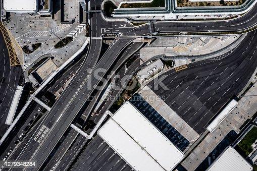 Drone view of Liantang Port / Heung Yuen Wai Boundary Control Point in Hong Kong