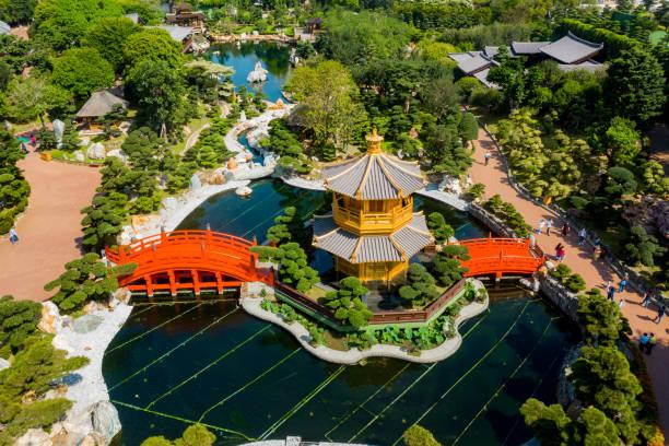 drone view of nan lian garden, chi lin nunnery, diamond hills, hong kong - lian empty imagens e fotografias de stock