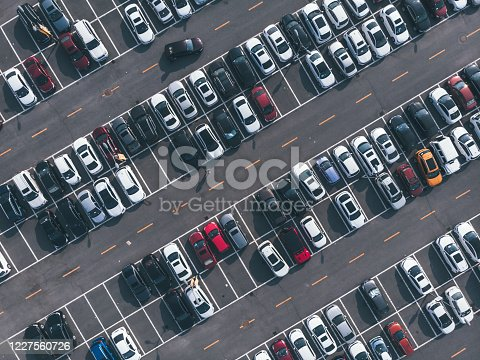 Aerial View of Busy Parking Lot