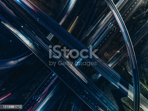 istock Drone View of Road Intersection at Rush Hour 1215981712