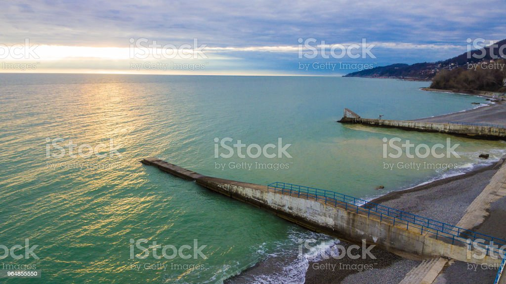 Drone view of seacoast with moles, Sochi, Russia royalty-free stock photo