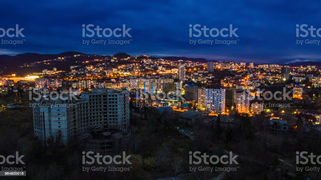Drone view of seaside of Sochi city, Russia royalty-free stock photo