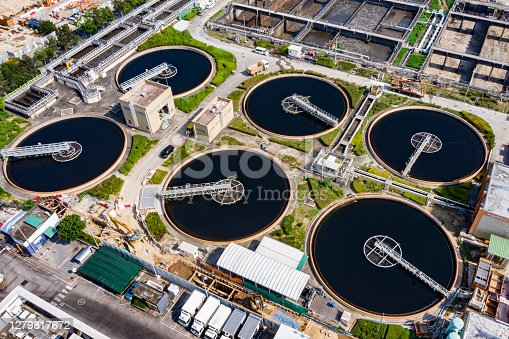 Drone view of Shek Wu Hui Effluent Polishing Plant