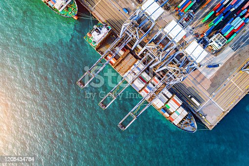 Global trade networks. International supply chain commercial logistics industry Aerial view