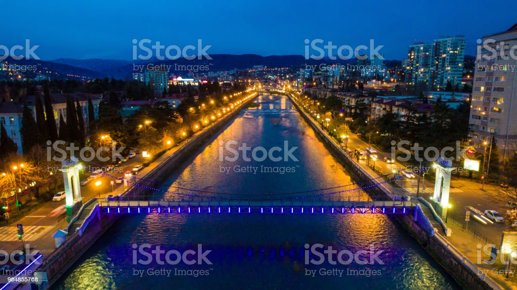 Drone view of Sochi River at dusk, Sochi, Russia royalty-free stock photo