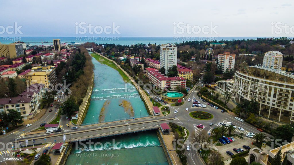 Drone view of Sochi River, Russia royalty-free stock photo