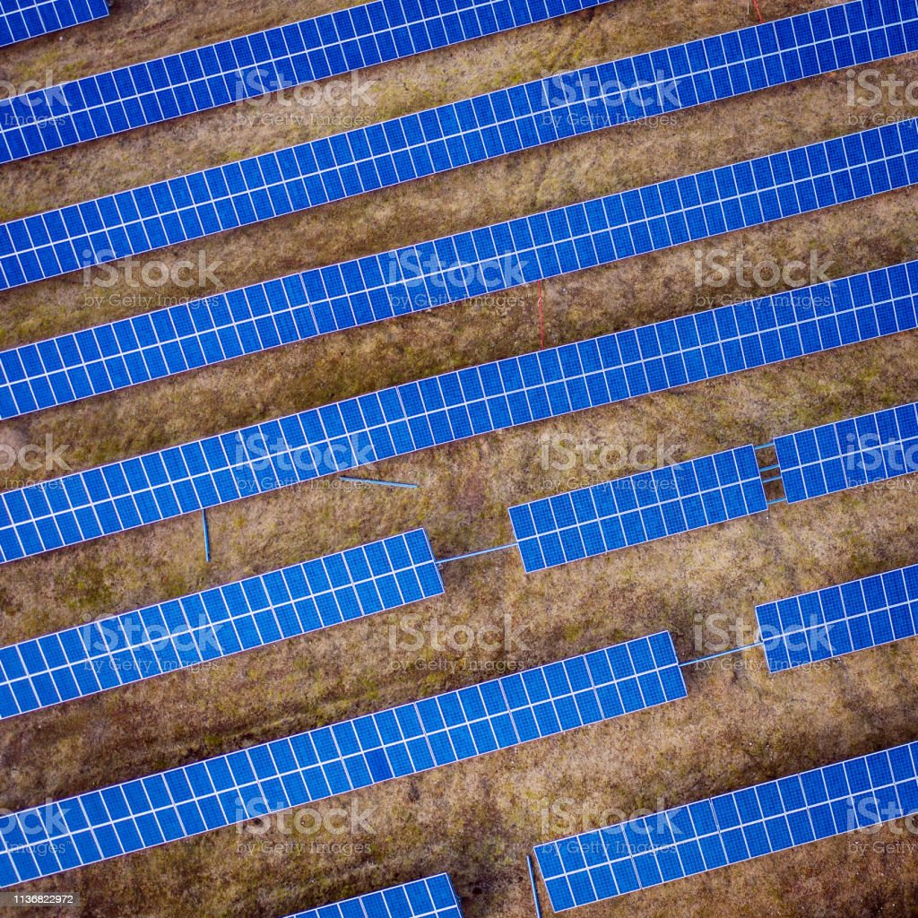 Drone view of solar panels stock photo