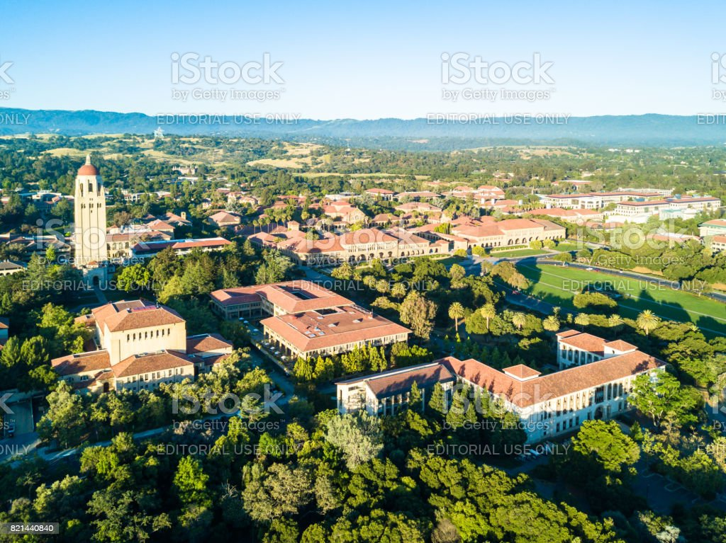 Drone view of Stanford University stock photo