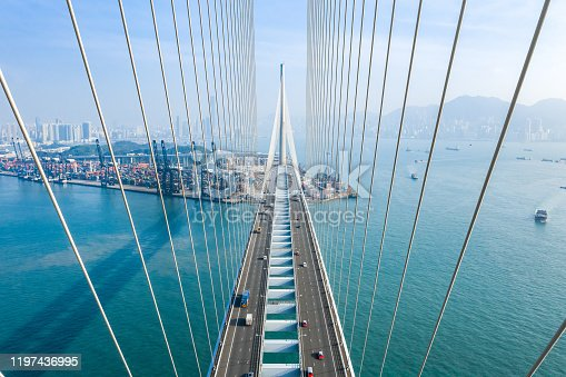 Drone view of Stonecutters Bridge and the Tsing sha highway