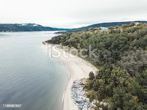 Drone view of Tadoussac over Pointe Rouge beach