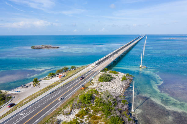 Drone view of the Florida Keys, USA stock photo