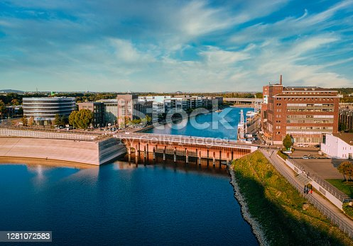 istock Drone view of the harbour in Duisburg, Germany 1281072583
