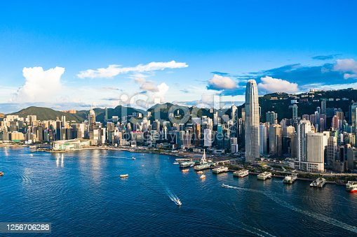 istock Drone view of Victoria Harbour, Hong Kong 1256706288