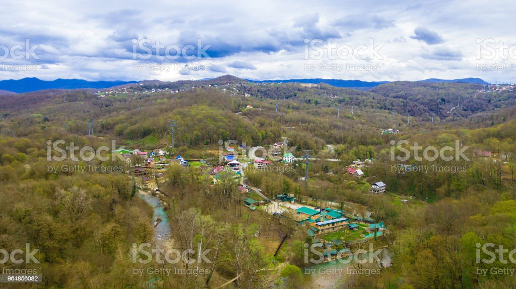 Drone view of village in mountains royalty-free stock photo
