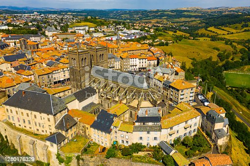 istock Drone view of walled French town of Saint-Flour with Cathedral 1280176329