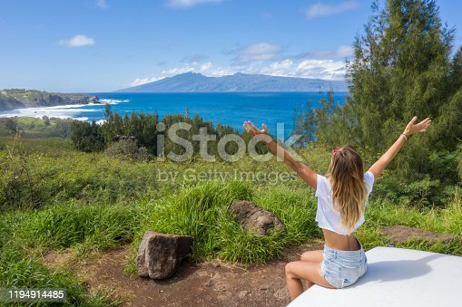 Young woman sitting on vehicle looking at seascape in Hawaii, USA