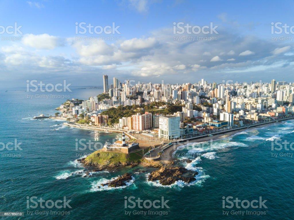 drone view on coastline and skyline of Salvador da Bahia stock photo