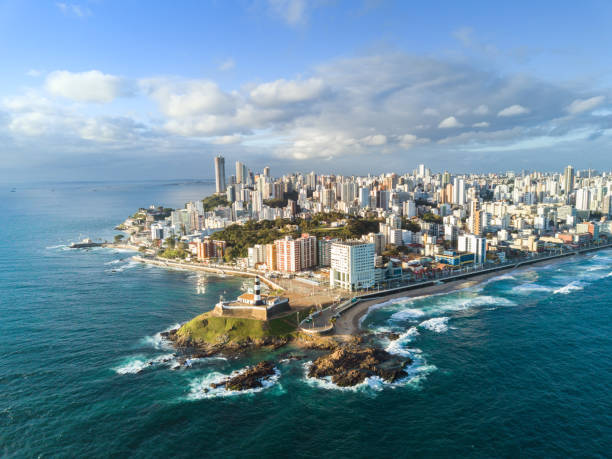 drone view on coastline and skyline of Salvador da Bahia stock photo