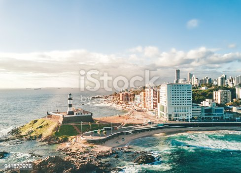 drone view from bay on coastline and skyline of Salvador da Bahia