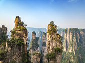 drone view over avatar mountains in in china