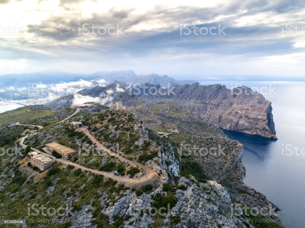 Drone Views of Mountains and Landscapes at Cap de Formentor, in North Mallorca / Majorca stock photo