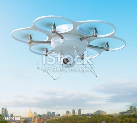 istock Drone with camera over city 466049159