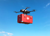 Drone with first aid kit on blue sky, Emergency medical care concept. 3D illustration