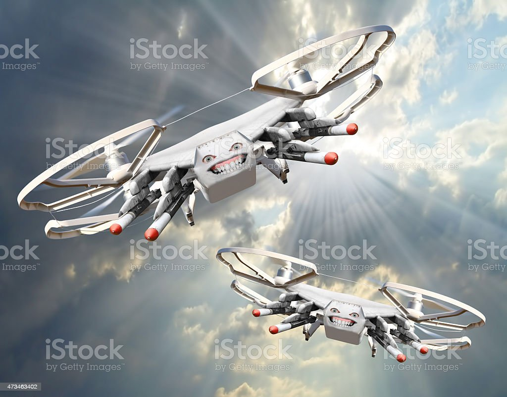 Drone with missiles. stock photo