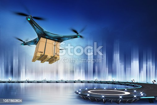 istock Drone with paper box at flight over heliport 1057860804