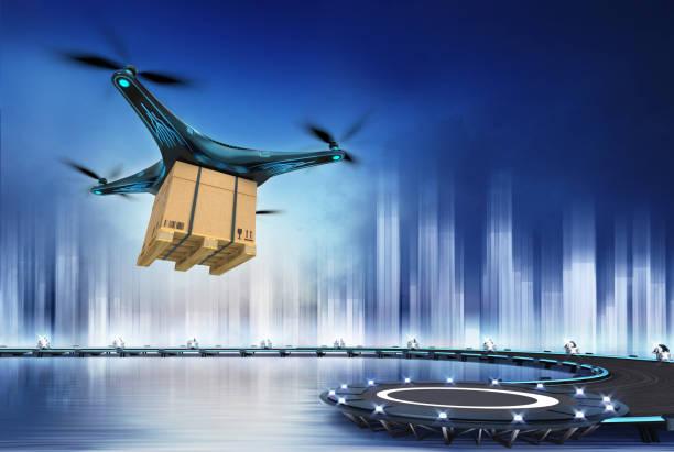 drone med ytterkartong på flyg över heliport - delivery robot bildbanksfoton och bilder