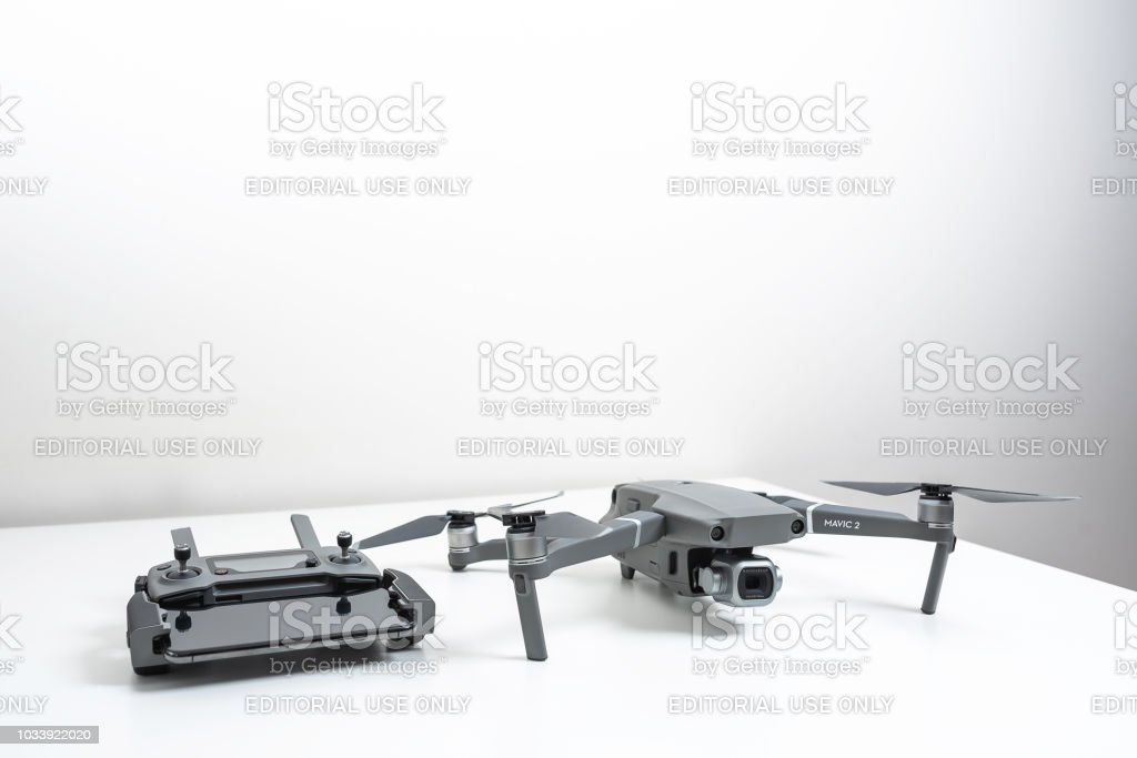 Drone with remote controller stock photo