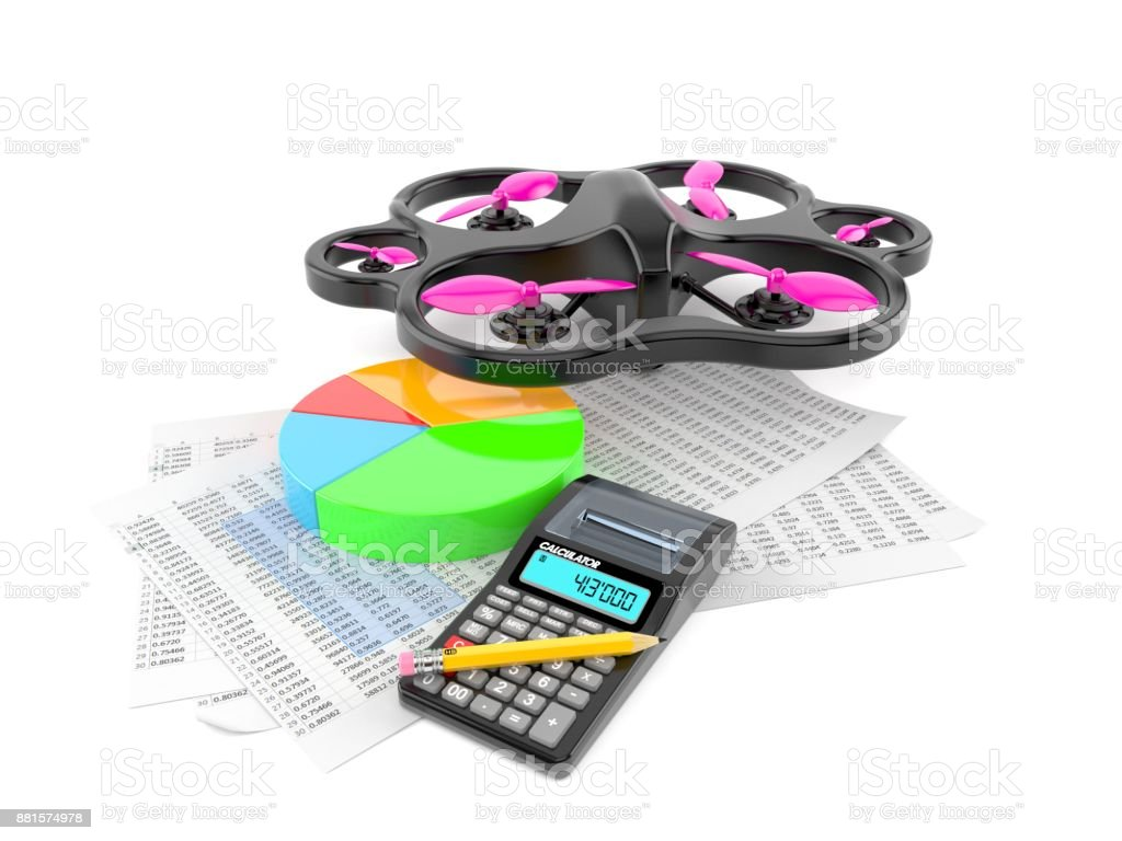 Drone with report and pie chart stock photo