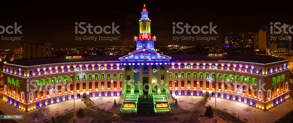 Drone/Aerial panorama.  Christmas Holiday lights, Denver City government building stock photo